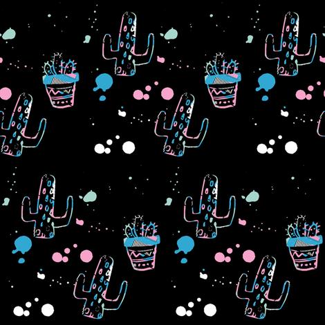 "4"" 80s Cactus Doodle - Original Black fabric by rebelmod on Spoonflower - custom fabric"