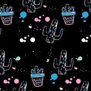 """4"""" 80s Cactus Doodle - Original Black"""
