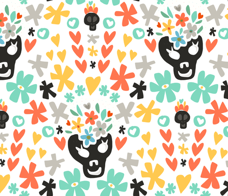Lovely Skulls fabric by angieguarin on Spoonflower - custom fabric