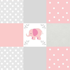 Pink Elephant 6x6 Gray Cheater Quilt 1812