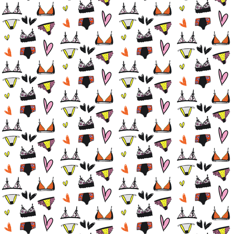 "2"" Girly Undies - Orange, Pink, & Yellow fabric by rebelmod on Spoonflower - custom fabric"