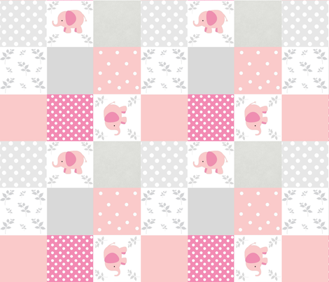 elephant quilt pink gray 2- Large18 wholecloth  fabric by drapestudio on Spoonflower - custom fabric