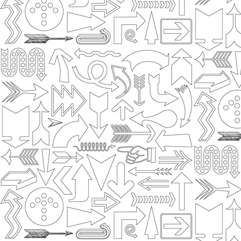 Any Direction (Color-Your-Own) || travel arrows compass symbol direction black and white coloring book fabric by pennycandy on Spoonflower - custom fabric