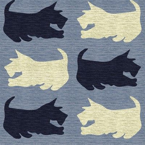 Black and Wheaten Scottie Dogs with Speckled Texture_on_Blue