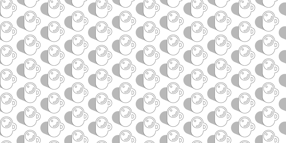Cuppa (Color-Your-Own) || coffee tea mug cup graphic geometric heart cocoa hot chocolate minimalist Mondays morning caffeine black and white coloring book fabric by pennycandy on Spoonflower - custom fabric