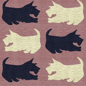 Black and Wheaten Scottie Dogs with Speckled Texture_on Pink