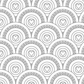 Hearts to the Max (Color-Your-Own) || pop Art Deco scallop stars scales marquee circles black and white coloring book