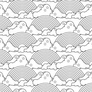 Rainbows to the Max (White) || rainbow clouds stars 80s retro pop art pride children kids baby nursery black and white coloring book