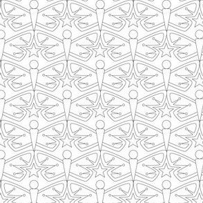 Carry A Torch (Color-Your-Own) || moth butterfly butterflies insect star starburst Art Deco geometric liberty black and white coloring book