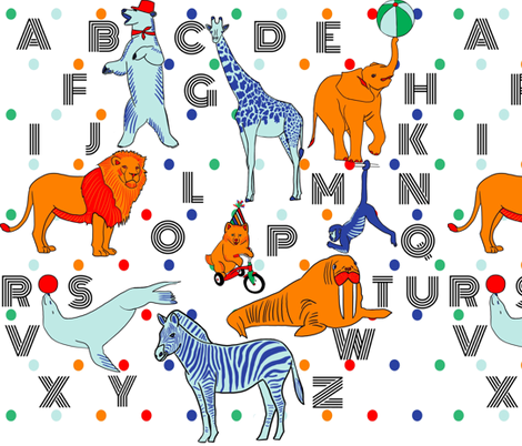 Circus alphabet animals fabric by supersky on Spoonflower - custom fabric