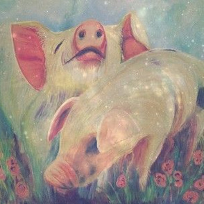 2 Pigs in Peonies
