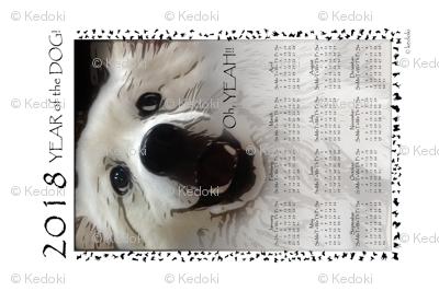 Tea Towel 2018 Year of the Dog - Oh Yeah by kedoki