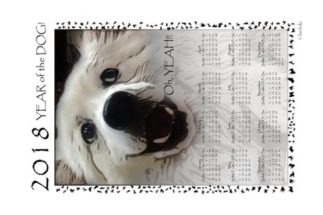 Tea Towel 2018 Year of the Dog - Oh Yeah by kedoki fabric by kedoki on Spoonflower - custom fabric