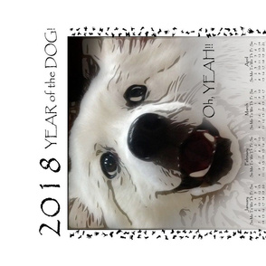 Tea Towel 2018 Year of the Dog - Oh Yeah by kedoki
