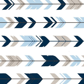 Arrow Feathers - Rotated - Cottonwood - Navy, beige, baby blue on white