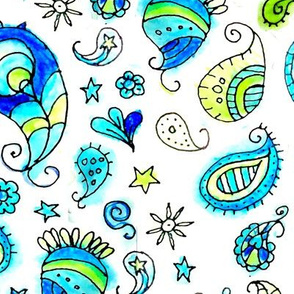 Aqua Watercolor Paisley