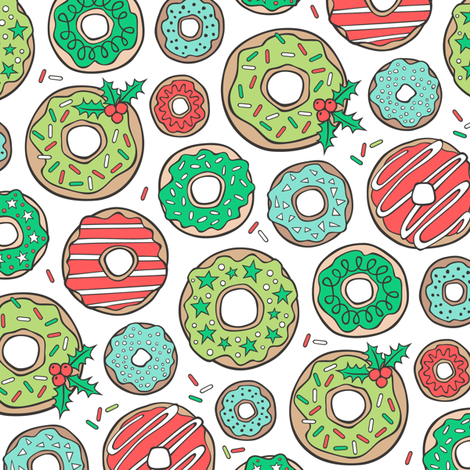 Christmas Holidays Donuts with Stars & Sprinkles fabric by caja_design on Spoonflower - custom fabric