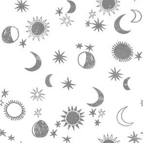 night sky galaxy fabric // nursery baby night sky nursery grey