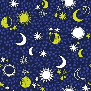 night sky galaxy fabric // nursery baby night sky nursery dark blue and yellow