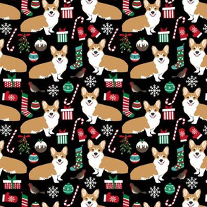 corgi christmas fabric christmas dog design dogs holiday fabric - black