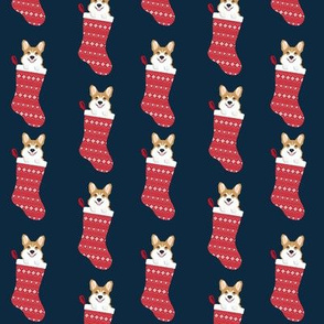 corgi stocking fabric - cute dog in stocking design - navy
