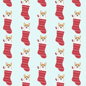 corgi stocking fabric - cute dog in stocking design - lite