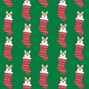 corgi stocking fabric - cute dog in stocking design - green