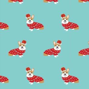corgi christmas fabric - cute dog santa paws christmas sweater design - blue