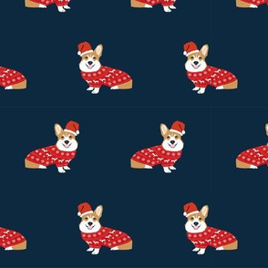 corgi christmas fabric - cute dog santa paws christmas sweater design - navy