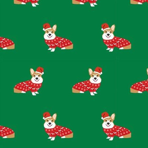 corgi christmas fabric - cute dog santa paws christmas sweater design - green