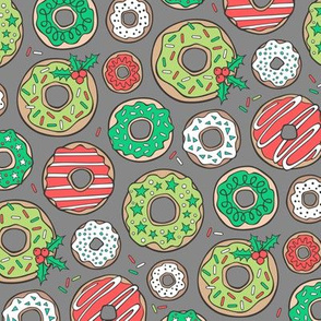 Christmas Holidays Donuts with Stars & Sprinkles on Dark grey