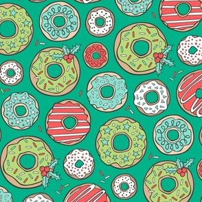 Christmas Holidays Donuts with Stars & Sprinkles on Green
