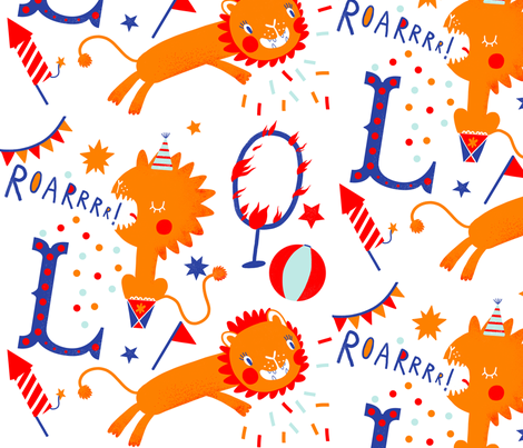 L is for Lion fabric by verons_pro on Spoonflower - custom fabric