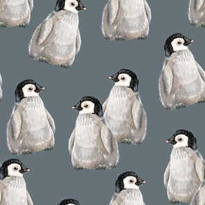 Penguin friends on blue - larger scale