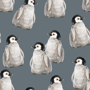 Penguin Friends on blue - smaller scale
