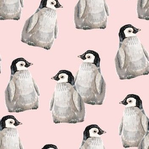 Penguin Friends on pink - smaller scale