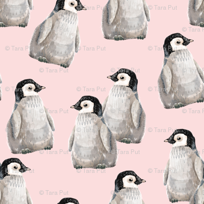 Penguin Friends on pink - larger scale