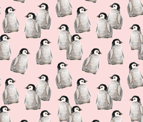 Penguin Friends on pink - larger scale fabric by taraput on Spoonflower - custom fabric