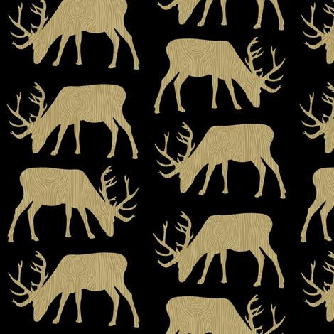 DEER TIMBER BLACK  fabric by moosedesigncompany on Spoonflower - custom fabric