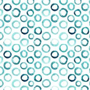 Watercolor azure blue circles