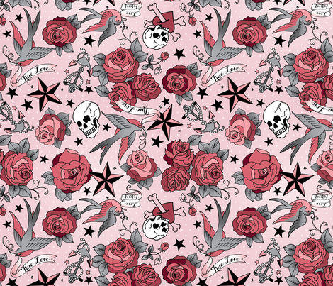 Girly Tattoo in Pink fabric by cynthiafrenette on Spoonflower - custom fabric