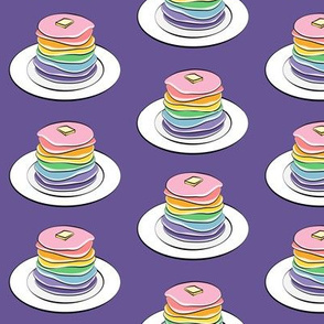 rainbow pancake stacks on purple