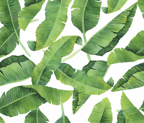 Watercolor Banana Leaves fabric by taylor_bates_creative on Spoonflower - custom fabric