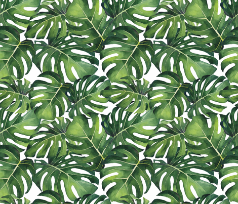 Watercolor Monstera Leaves fabric by taylor_bates_creative on Spoonflower - custom fabric
