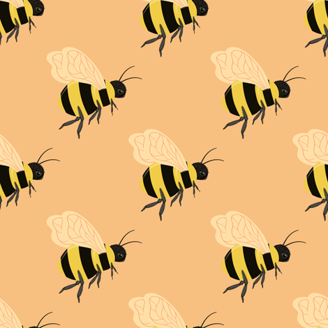 Bees on Peach fabric by jolynart on Spoonflower - custom fabric