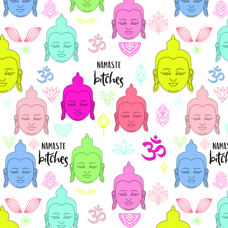 "6"" ***MATURE*** Namaste Bitches - Pink & Green fabric by rebelmod on Spoonflower - custom fabric"