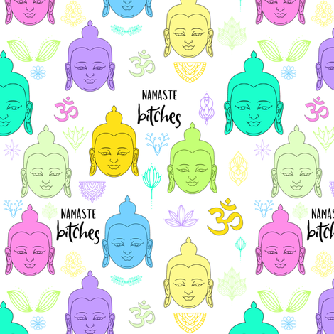 "6"" ***MATURE*** Namaste Bitches - Yellow, Blue, Green fabric by rebelmod on Spoonflower - custom fabric"