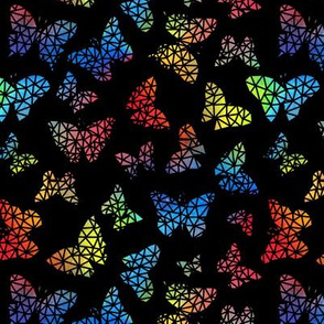 Rainbow Geo Butterflies - black