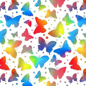 Rainbow Butterflies with stars - white