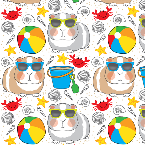 guinea-pigs-at-the-beach fabric by lilcubby on Spoonflower - custom fabric